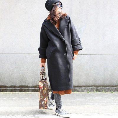 Fall Winter Women Polo Collar Loose Cashmere Overcoat - Buykud