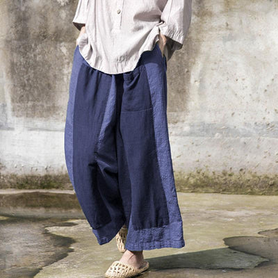 Retro Splicing Loose Women Long Wide Leg Pants - Buykud