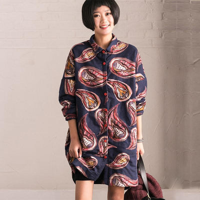 Winter Printing Loose Thickening Cotton Blouse Coat - Buykud
