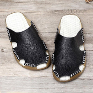 Summer Women Portable Leather Black Flat Sandals - Buykud