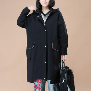 Literature Long Sleeves Back Slit Thick Black Hoody Women Coat - Buykud