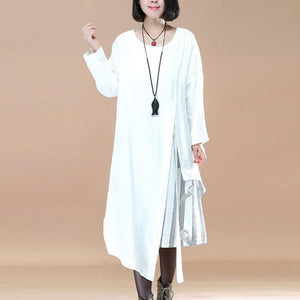 Women Casual Loose Stripe Patchwork Irregular Long Sleeve Dress - Buykud