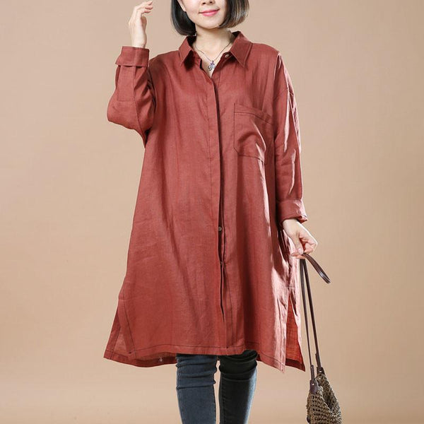 Cotton And Linen Retro Casual Red Shirt - Buykud