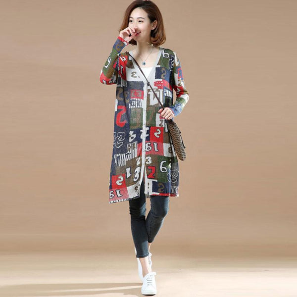 Women Casual Loose Printing Knitting Outerwear Coat - Buykud