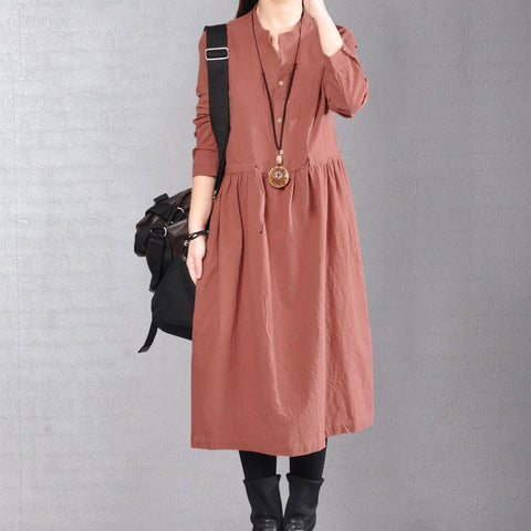 Spring Autumn Loose Women Long Sleeve Cotton Linen Dress - Buykud