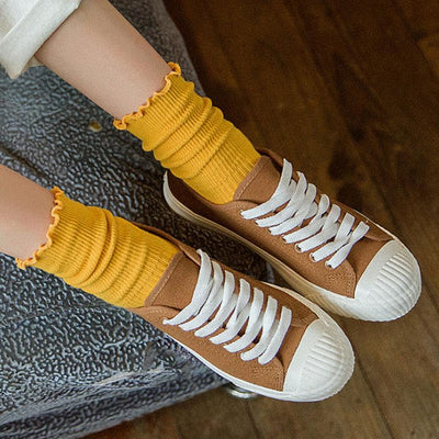 Casual Women Solid Yellow Warm Socks - Buykud