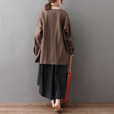Spring Loose Long Sleeve Irregular Coffee Women Tops - Buykud