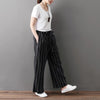 Stripe Lacing Casual Women Black Wide Leg Pants - Buykud