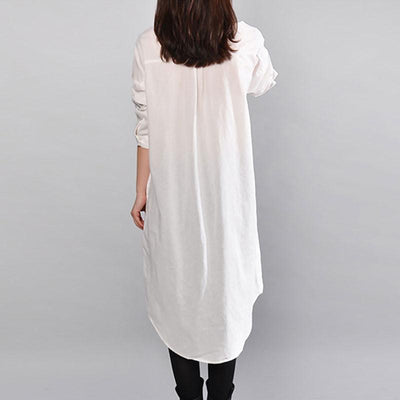 Women Casual Straight Cotton Loose White Dress - Buykud