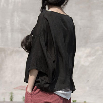 Women Summer Plain Black Distressed Tops Blouse - Buykud