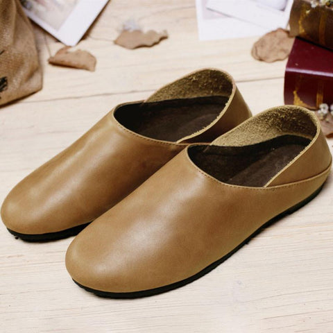 Literature Women Leather Light Brown Shoes Mori Girl Style - Buykud