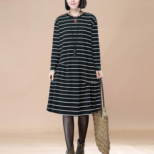 Women Long Sleeve Pleated Pockets Loose Casual Black Stripe Dress - Buykud