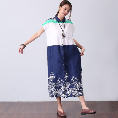 Splicing Retro Printing Polo Collar Women Blue And White Dress - Buykud