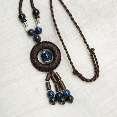 Accessory Retro Rope Chain Wood Agate Pendant Necklace - Buykud