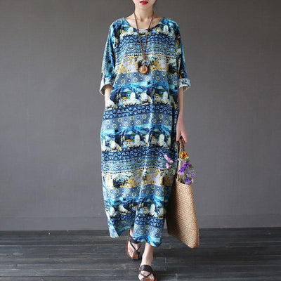 Women Pullover Printed Pockets Dress - Buykud