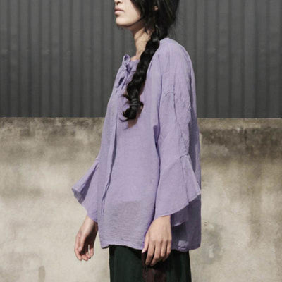 Spring Women Round Neck Long Sleeve Lacing Shirt - Buykud