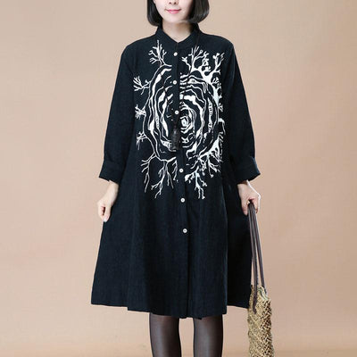 Black Stand Collar Single Breasted Printing Long Sleeve Dress - Buykud