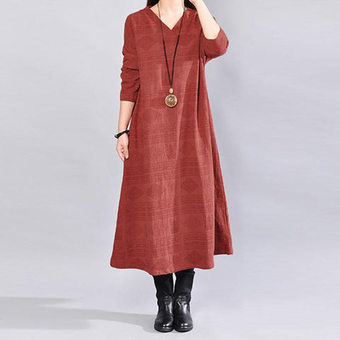 V Neck Long Sleeves Loose Splitting Women Red Dress - Buykud