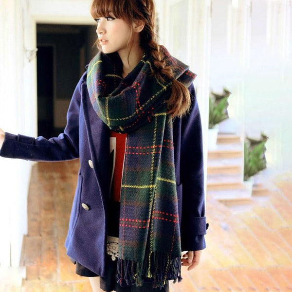 Fall Winter Lattice Tassel Rectangle Acrylic Shawl Scarf - Buykud
