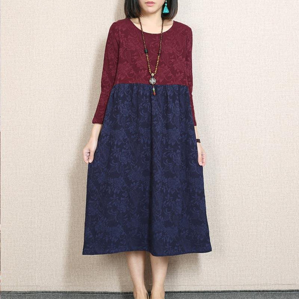Retro Printing Splicing Loose Wine Red Dress - Buykud