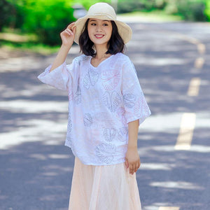 Casual Loose Literature Women Printing White Shirt - Buykud