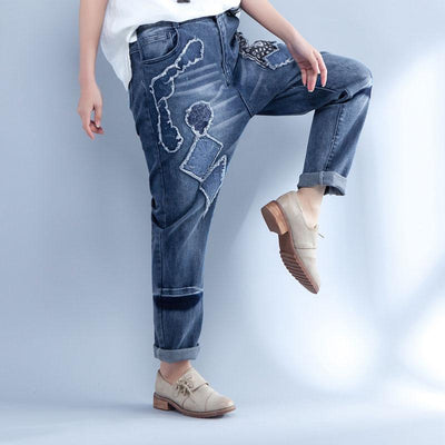 Casual Splicing Embroidery Blue Long Denim Pants - Buykud