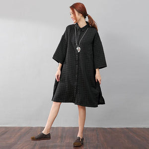 Chic Women Polka Dots Polo Collar Single Breasted Splitting Black Shirt Dress - Buykud
