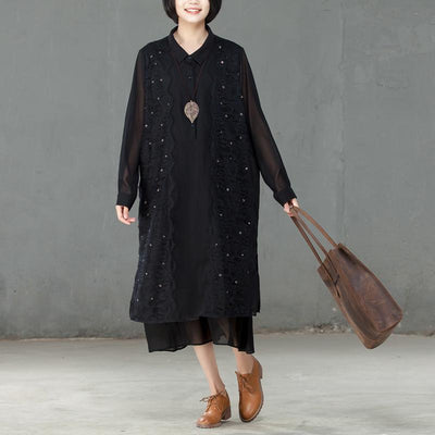Spring Polo Collar Long Sleeve Women Black Dress - Buykud