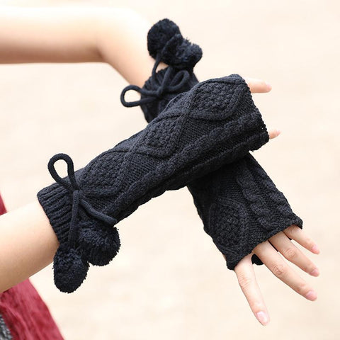Fashion Winter Women Keep Warm Black Knitted Gloves - Buykud
