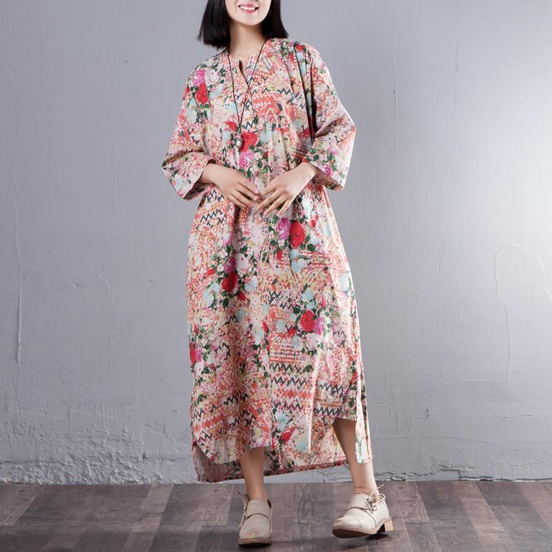 Stand Collar Three Quarter Sleeve Printed Loose Dress - Buykud