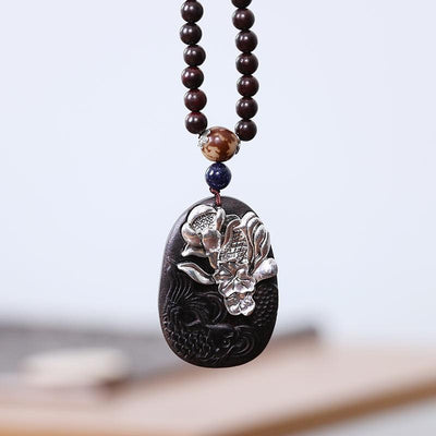 Casual Ebony Silver Rosary Pendant Necklace - Buykud