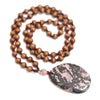 Round Wood Beads Rope Chain Necklace For Women - Buykud
