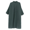 Women's Loose Polo Collar Shoulder Sleeve Linen Dress - Buykud