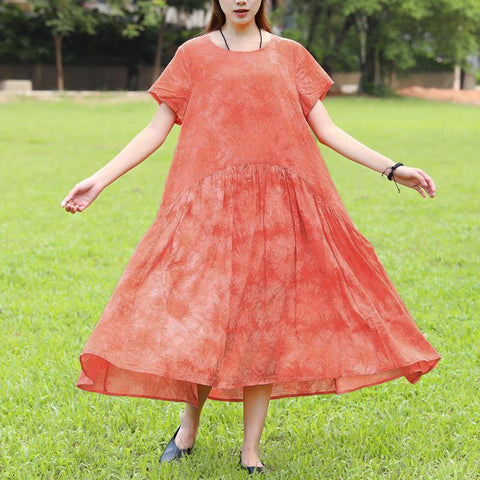 Summer Short Sleeve Dyeing Orange Dress For Women - Buykud