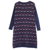 Women Round Neck Long Sleeve Cotton Knitted Sweater Dress - Buykud