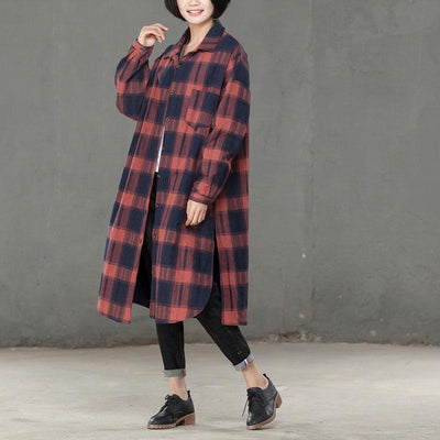 Autumn Winter Casual Lattice Thicker Red Long Shirt For Women - Buykud