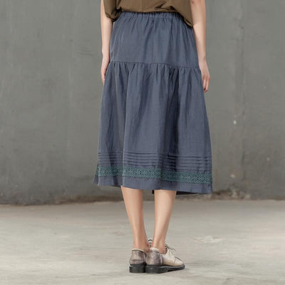 Loose Ramie Splicing Pleated Gray Women Casual Skirt - Buykud