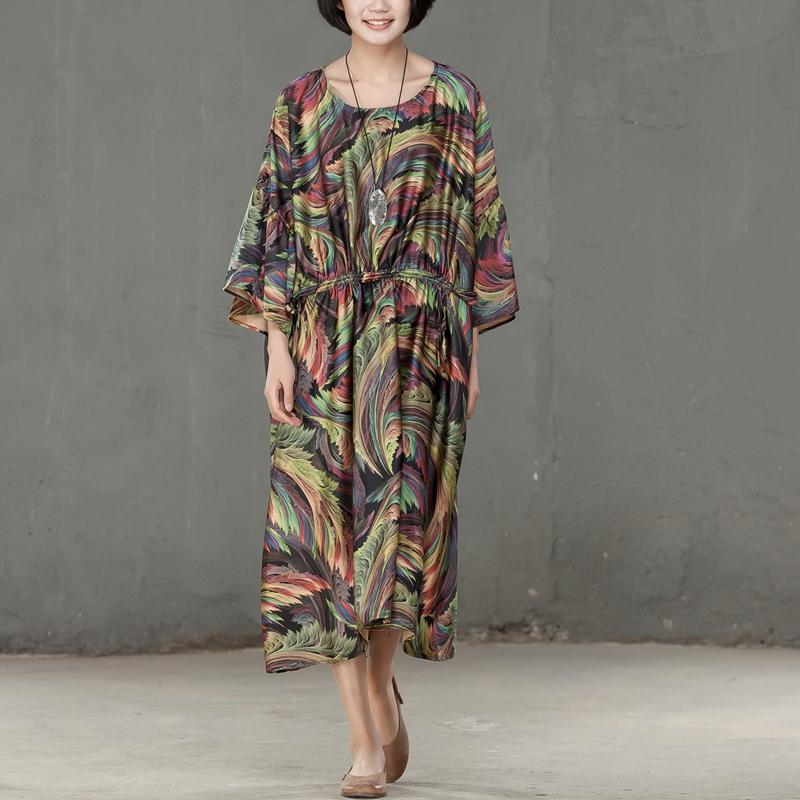 Spring Printed Round Neck Three Quarter Sleeve Women Dress - Buykud