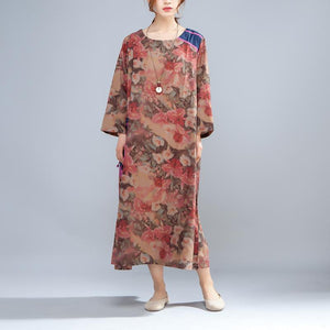 Spring Round Neck Long Sleeve Retro Printed Dress - Buykud