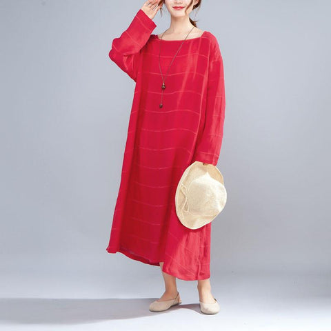 Casual Women Square Collar Loose Long Sleeve Red Dress - Buykud