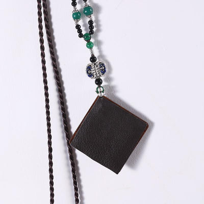 Embroidered Women Retro Leather Ethnic Wooden Necklaces - Buykud