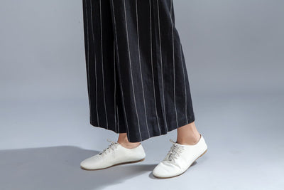Loose Women White Stripe Wide Leg Pants - Buykud