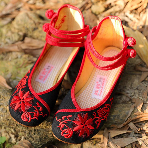 Chinese Style Traditional Embroidery Black And Red Cloth Shoes - Buykud