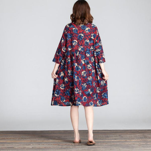 Floral Loose Folded Casual Women Red Dress - Buykud