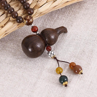 Gourd Ethnic Beaded Wooden Women Casual Retro Necklaces - Buykud