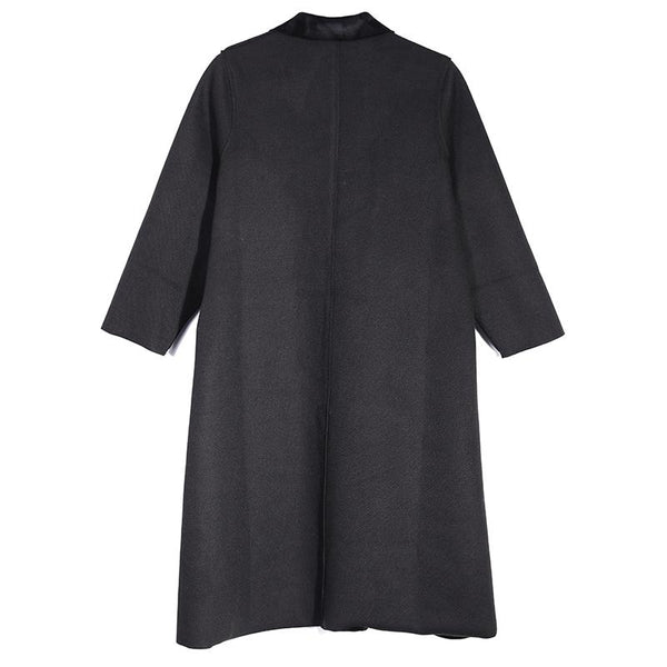 Casual Polo Collar Long Sleeve Red Women Woolen Coat - Buykud