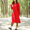 Casual Cotton Linen Long Sleeves Autumn Winter Women Dress - Buykud
