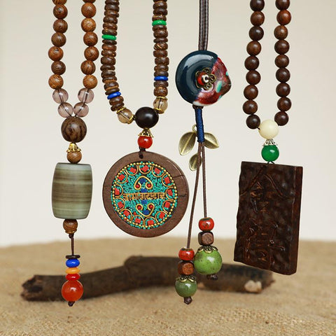 Ethnic Wood Round Beads Rope Chain Necklace - Buykud