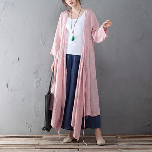 Loose Linen Long Sleeve Pink Lacing Lattice Coat - Buykud