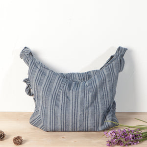 Blue Stripe Large Capacity Linen Zipper Shoulder Bag - Buykud